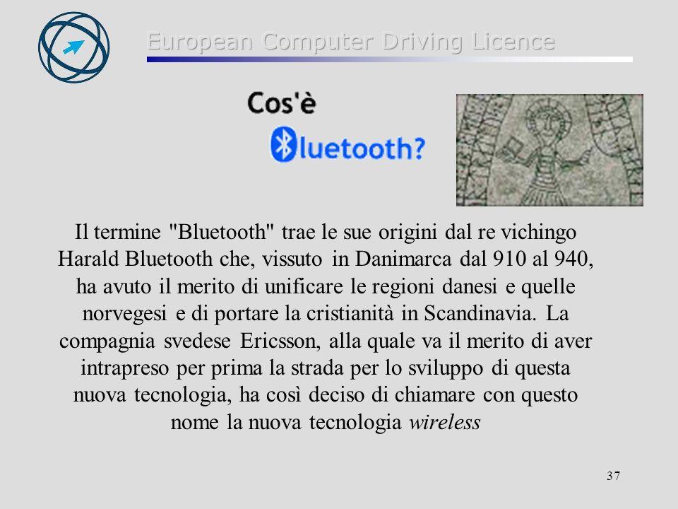 Il termine Bluetooth trae le sue origini dal re vichingo Harald Bluetooth che, vissuto in Danimarca dal 910 al 940, ha avuto il merito di unificare le regioni danesi e quelle norvegesi e di portare la cristianità in Scandinavia.