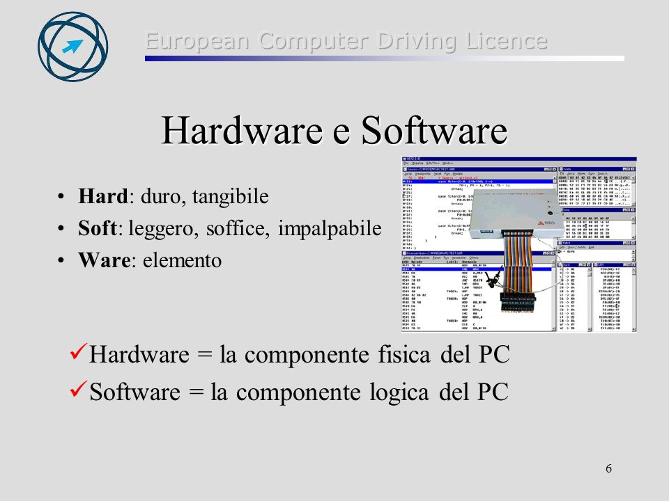 Hardware e Software Hardware = la componente fisica del PC