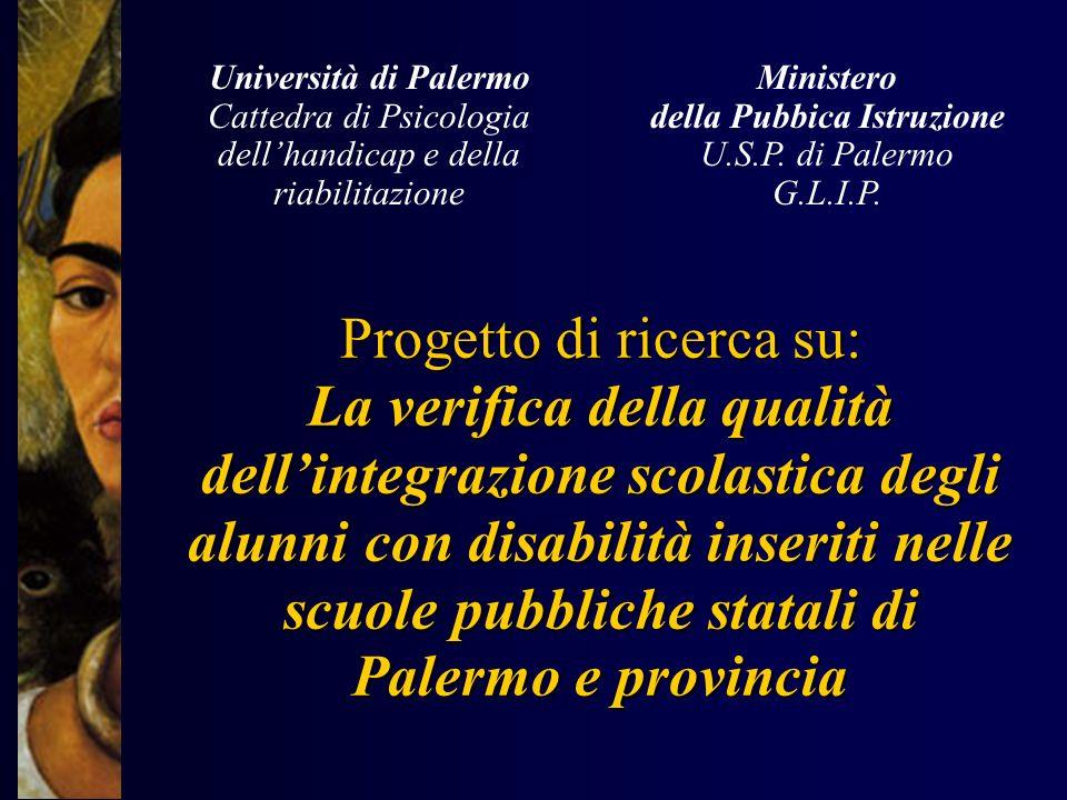 Università di Palermo Cattedra di Psicologia dell'handicap e della riabilitazione. Ministero. della Pubbica Istruzione.