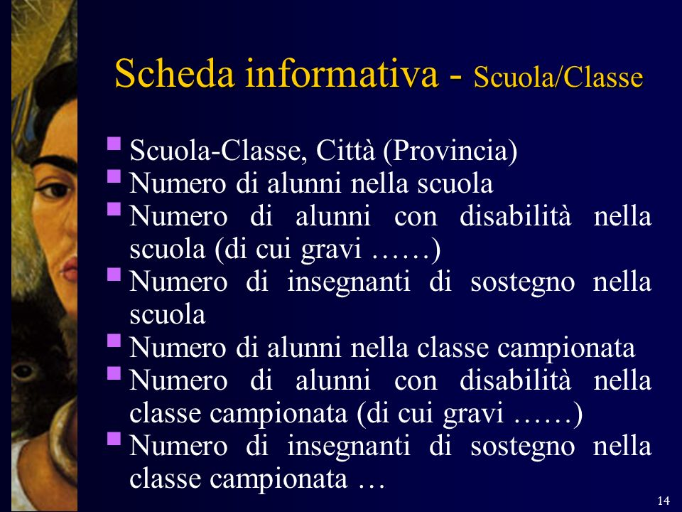 Scheda informativa - Scuola/Classe