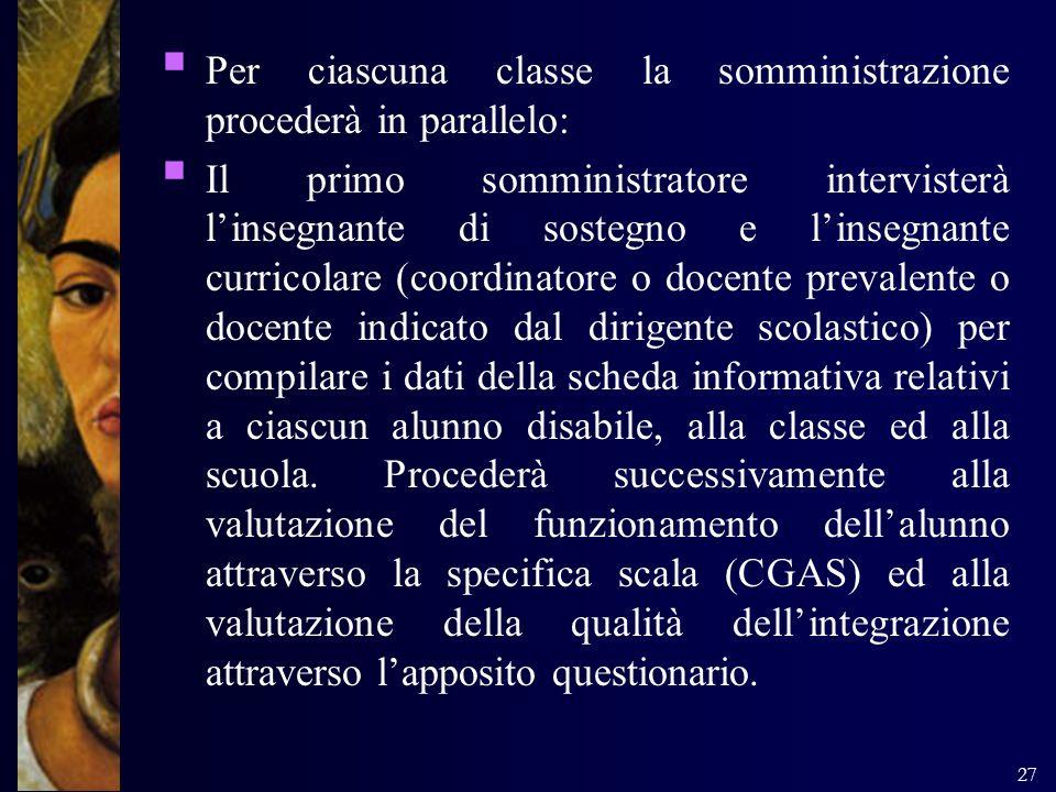 Per ciascuna classe la somministrazione procederà in parallelo: