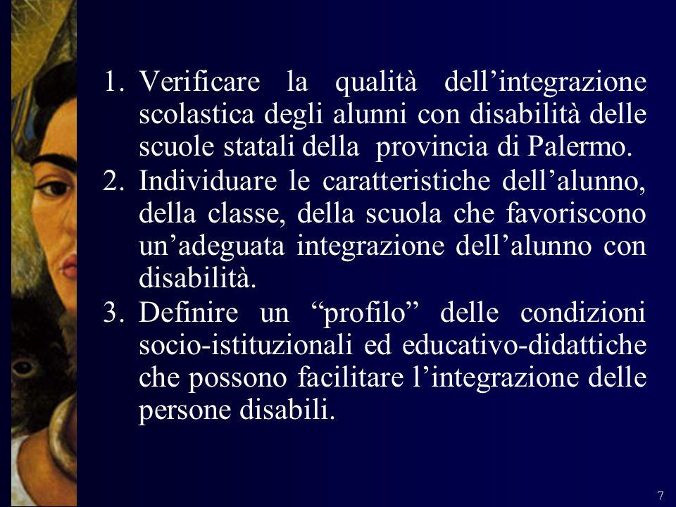 Verificare la qualità dell'integrazione scolastica degli alunni con disabilità delle scuole statali della provincia di Palermo.