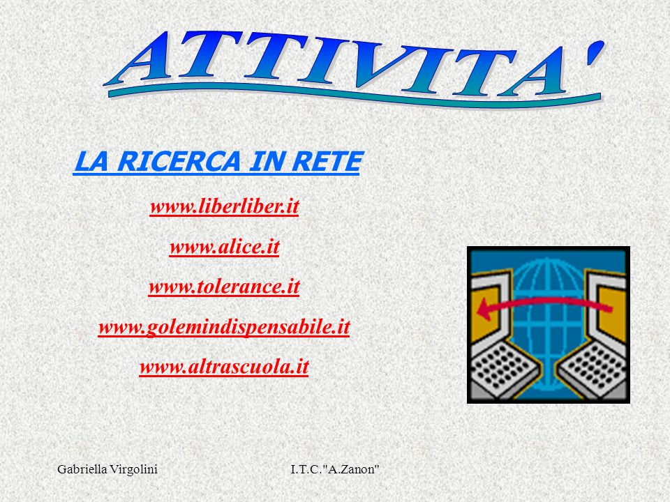 LA RICERCA IN RETE ATTIVITA www.liberliber.it www.alice.it
