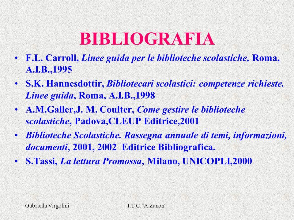 BIBLIOGRAFIA F.L. Carroll, Linee guida per le biblioteche scolastiche, Roma, A.I.B.,1995.