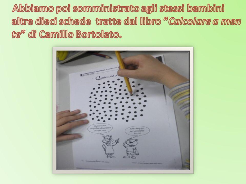Abbiamo poi somministrato agli stessi bambini altre dieci schede tratte dal libro Calcolare a men te di Camillo Bortolato.
