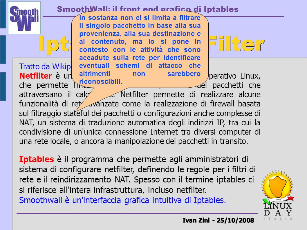 Iptables & NetFilter Ivan Zini - 25/10/2008