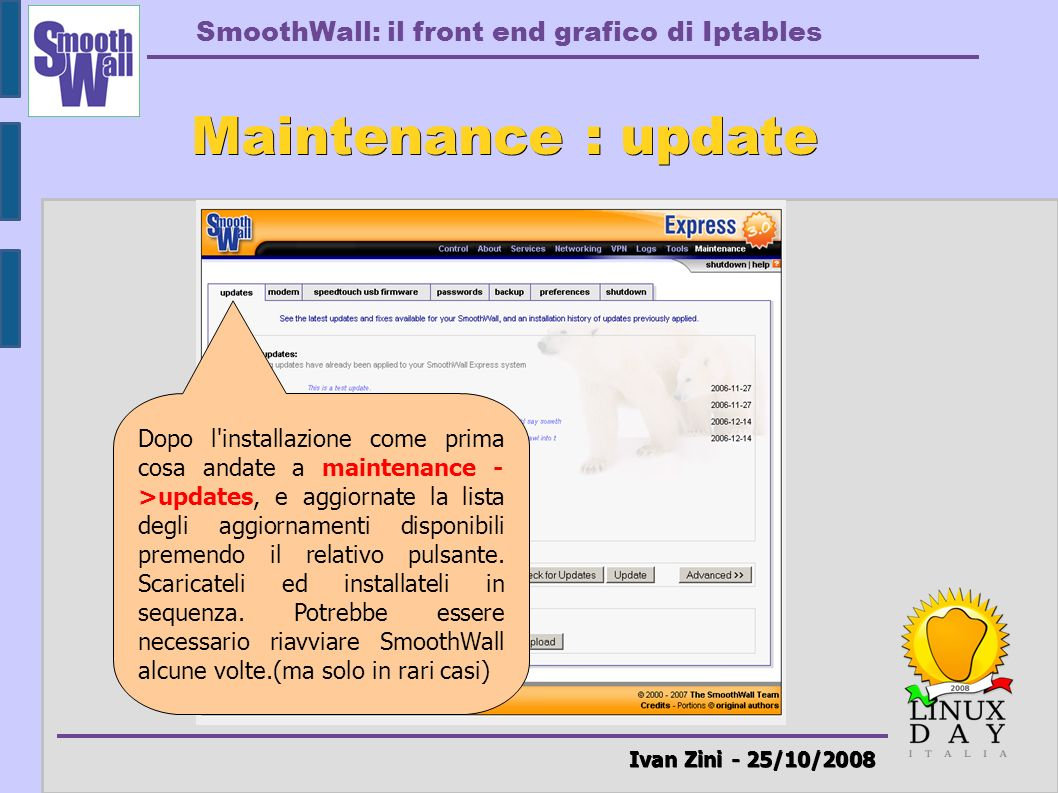 Maintenance : update Ivan Zini - 25/10/2008
