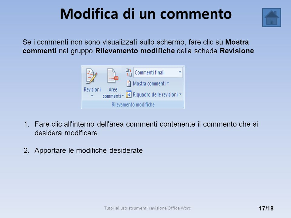 Modifica di un commento