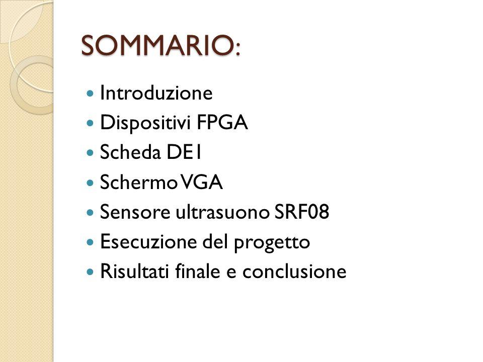 SOMMARIO: Introduzione Dispositivi FPGA Scheda DE1 Schermo VGA