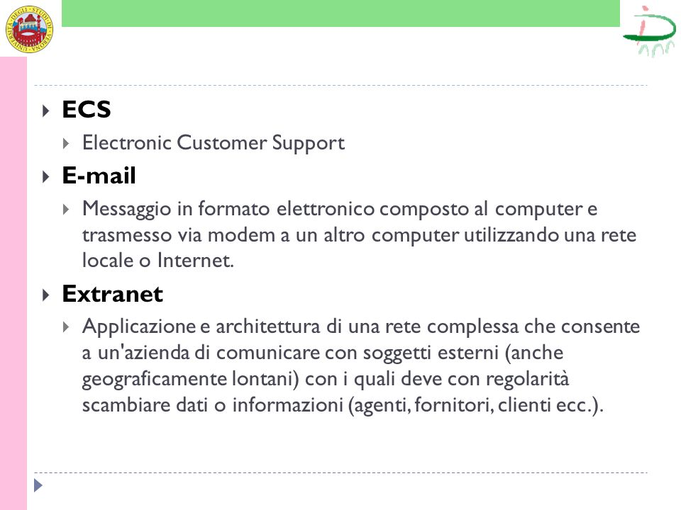ECS E-mail Extranet Electronic Customer Support