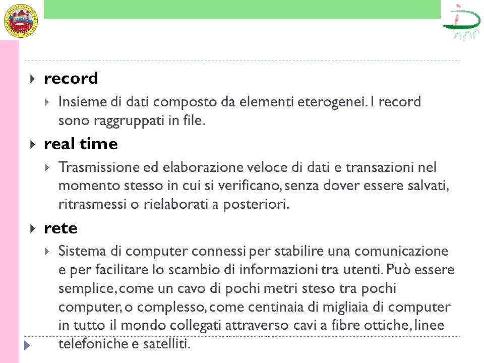 record Insieme di dati composto da elementi eterogenei. I record sono raggruppati in file. real time.