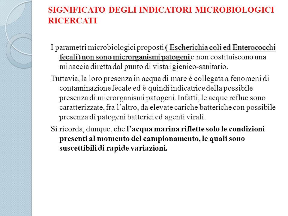 SIGNIFICATO DEGLI INDICATORI MICROBIOLOGICI RICERCATI