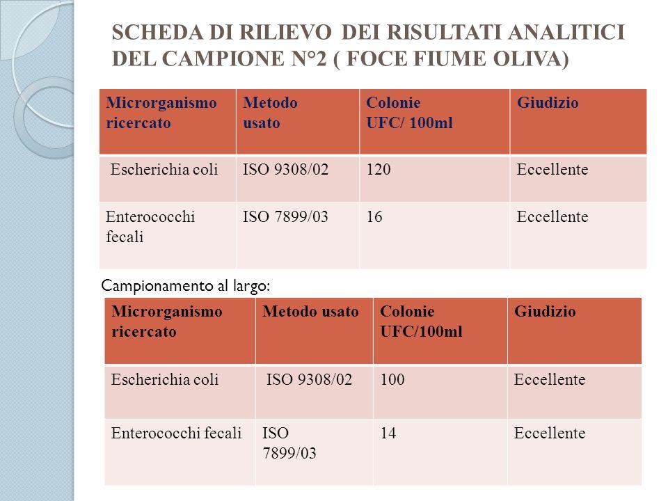 SCHEDA DI RILIEVO DEI RISULTATI ANALITICI DEL CAMPIONE N°2 ( FOCE FIUME OLIVA)