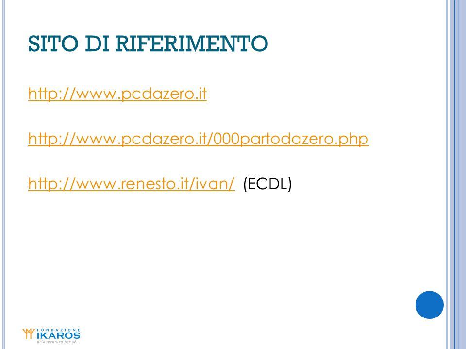 SITO DI RIFERIMENTO http://www.pcdazero.it http://www.pcdazero.it/000partodazero.php http://www.renesto.it/ivan/ (ECDL)