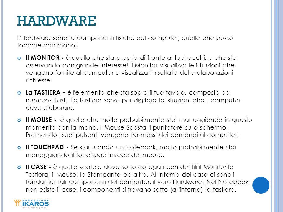 HARDWARE L Hardware sono le componenti fisiche del computer, quelle che posso toccare con mano: