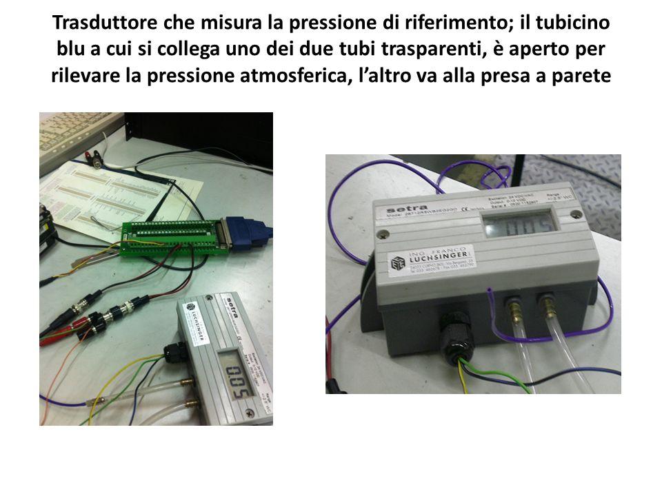 Trasduttore che misura la pressione di riferimento; il tubicino blu a cui si collega uno dei due tubi trasparenti, è aperto per rilevare la pressione atmosferica, l'altro va alla presa a parete
