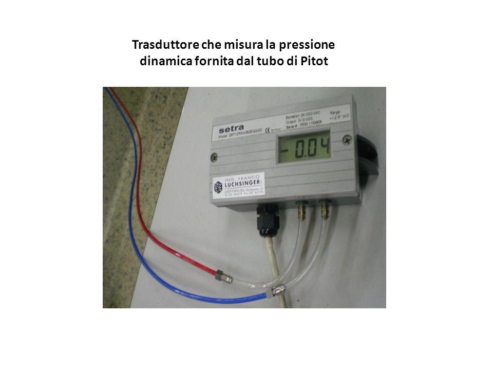 Trasduttore che misura la pressione dinamica fornita dal tubo di Pitot