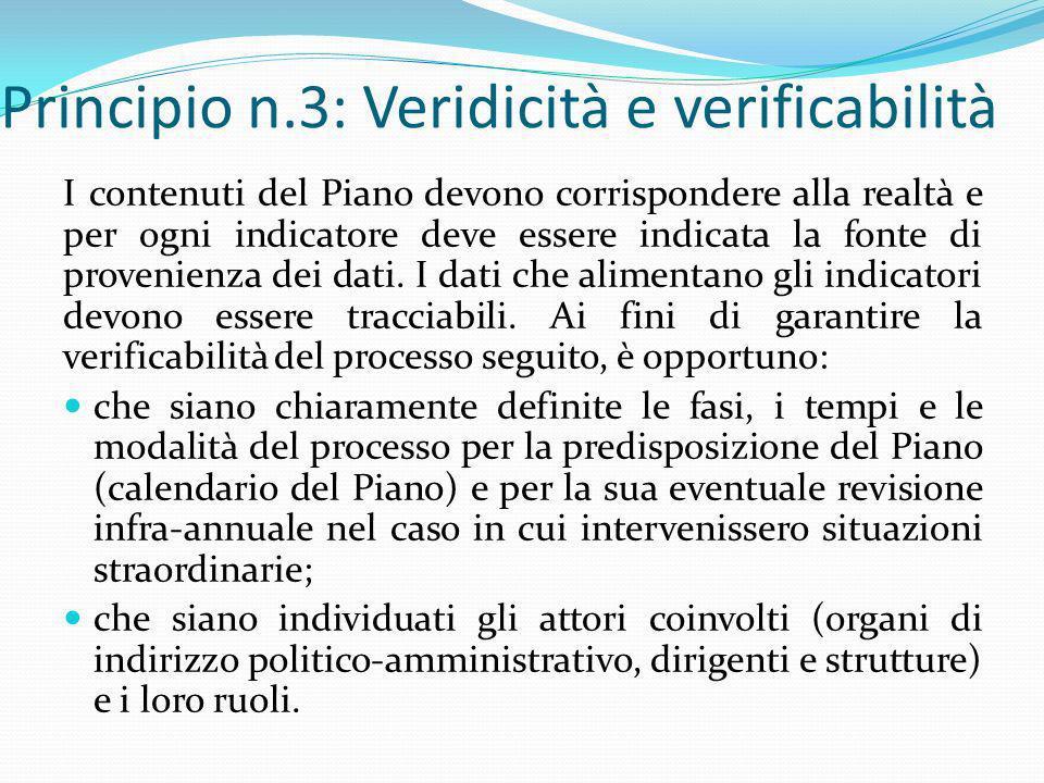 Principio n.3: Veridicità e verificabilità
