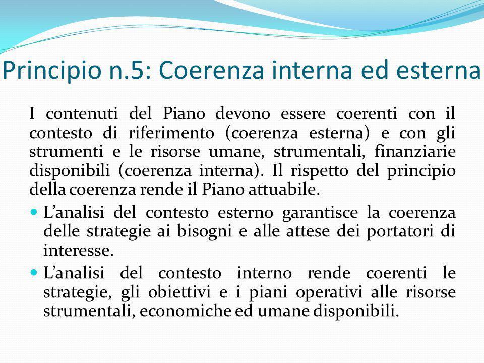Principio n.5: Coerenza interna ed esterna