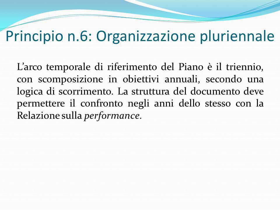 Principio n.6: Organizzazione pluriennale