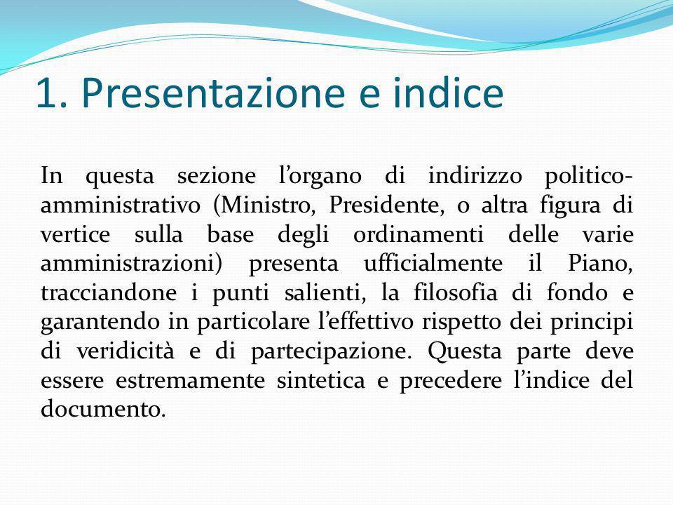 1. Presentazione e indice