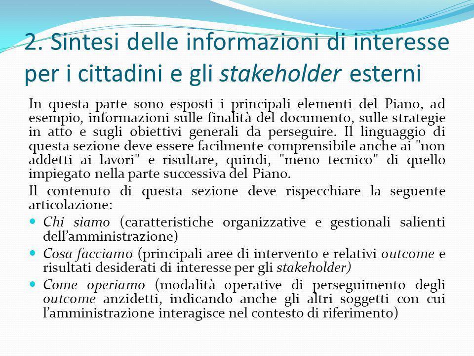 2. Sintesi delle informazioni di interesse per i cittadini e gli stakeholder esterni