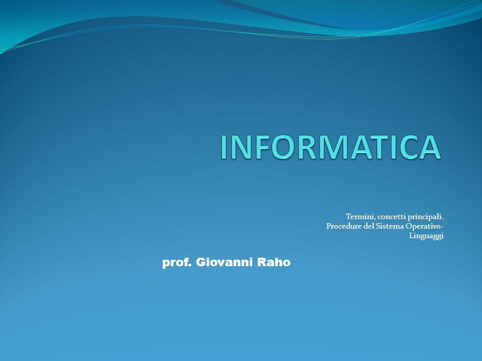 INFORMATICA A.A, 2001-2002 Termini, concetti principali.