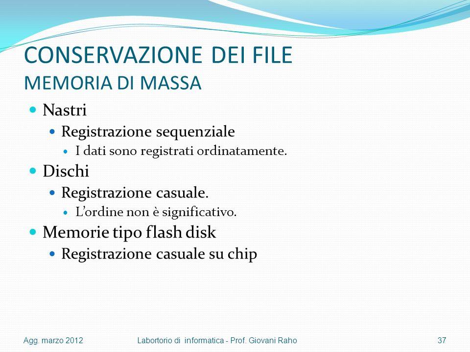 CONSERVAZIONE DEI FILE MEMORIA DI MASSA