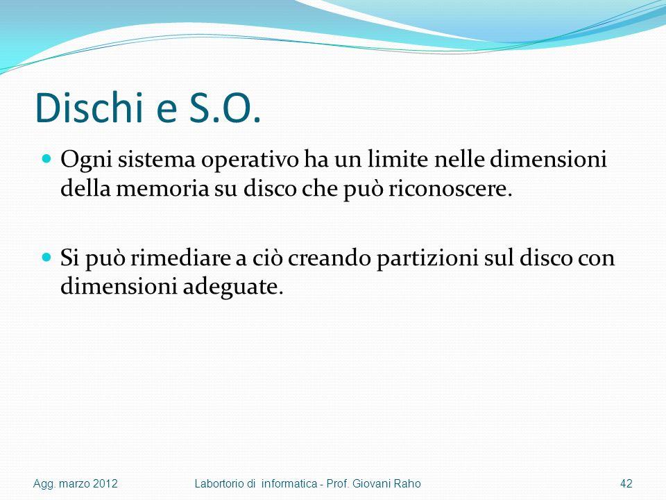 Dischi e S.O. Ogni sistema operativo ha un limite nelle dimensioni della memoria su disco che può riconoscere.