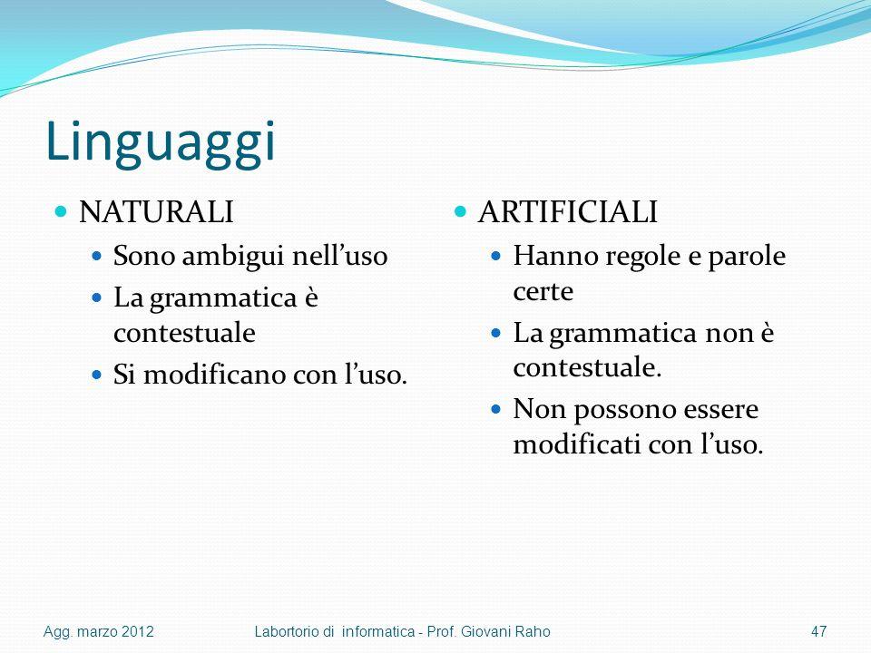 Linguaggi NATURALI ARTIFICIALI Sono ambigui nell'uso