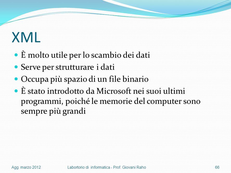 XML È molto utile per lo scambio dei dati Serve per strutturare i dati
