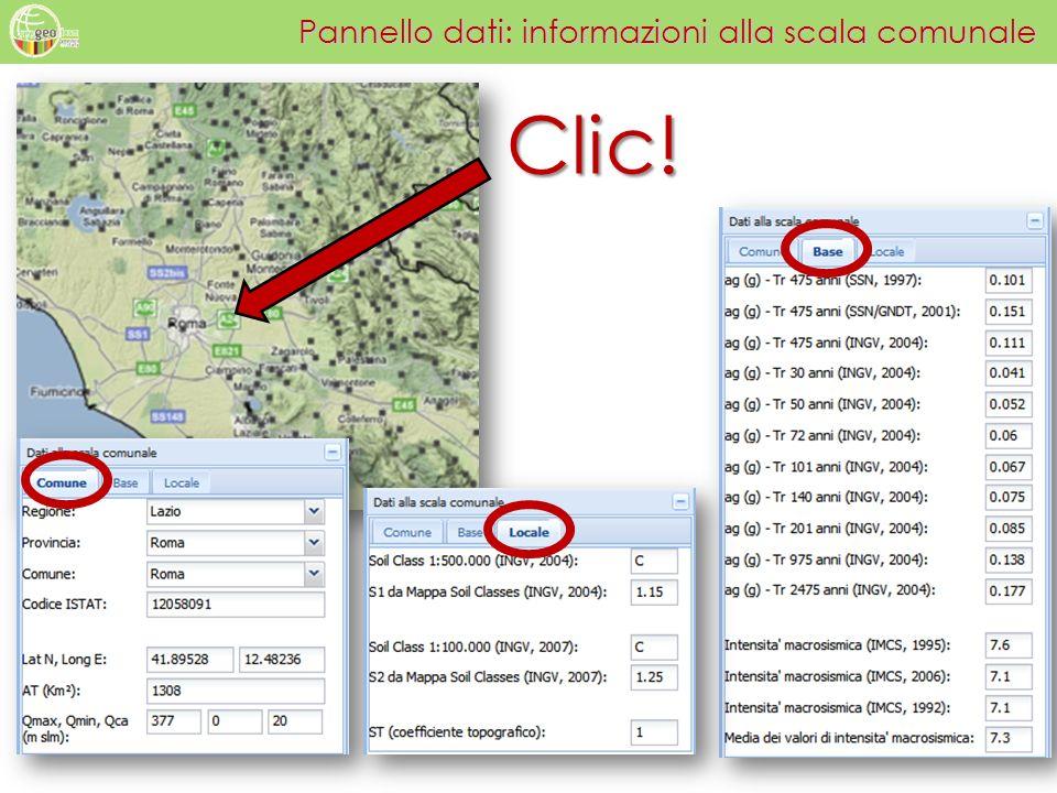 Pannello dati: informazioni alla scala comunale
