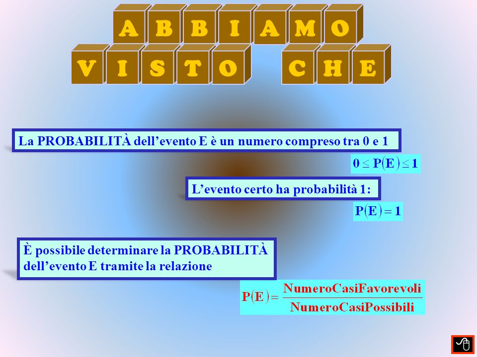 A B. I. M. O. V. S. T. C. H. E. La PROBABILITÀ dell'evento E è un numero compreso tra 0 e 1.