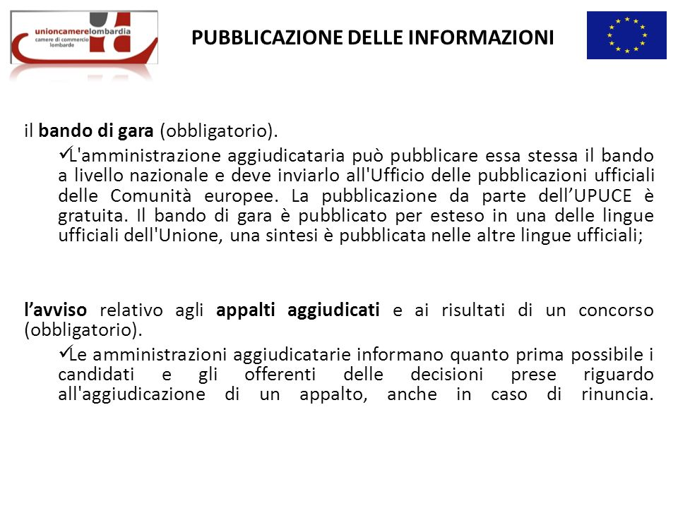 PUBBLICAZIONE DELLE INFORMAZIONI