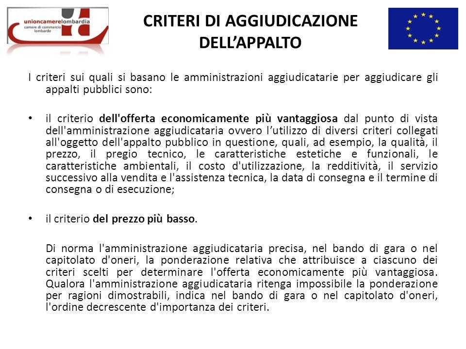 CRITERI DI AGGIUDICAZIONE DELL'APPALTO