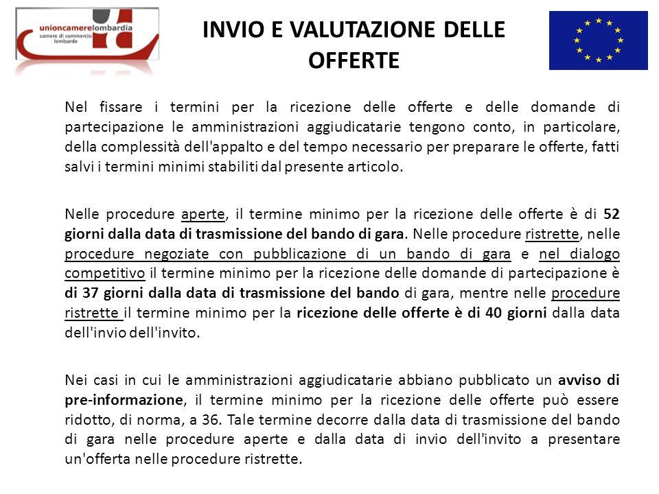 INVIO E VALUTAZIONE DELLE OFFERTE