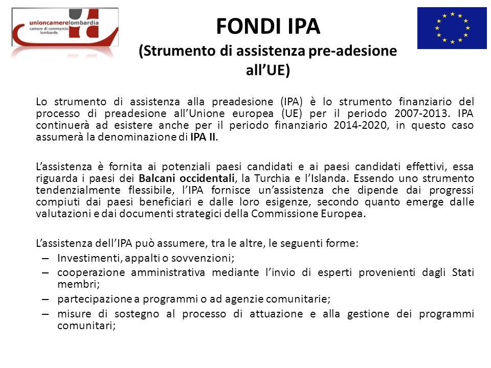 FONDI IPA (Strumento di assistenza pre-adesione all'UE)