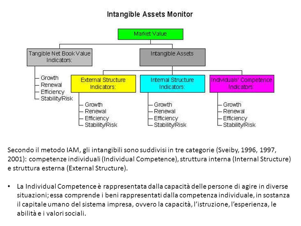 Secondo il metodo IAM, gli intangibili sono suddivisi in tre categorie (Sveiby, 1996, 1997, 2001): competenze individuali (Individual Competence), struttura interna (Internal Structure) e struttura esterna (External Structure).