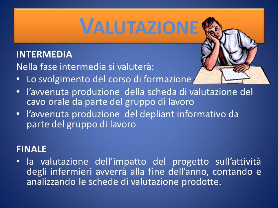 Valutazione INTERMEDIA Nella fase intermedia si valuterà: