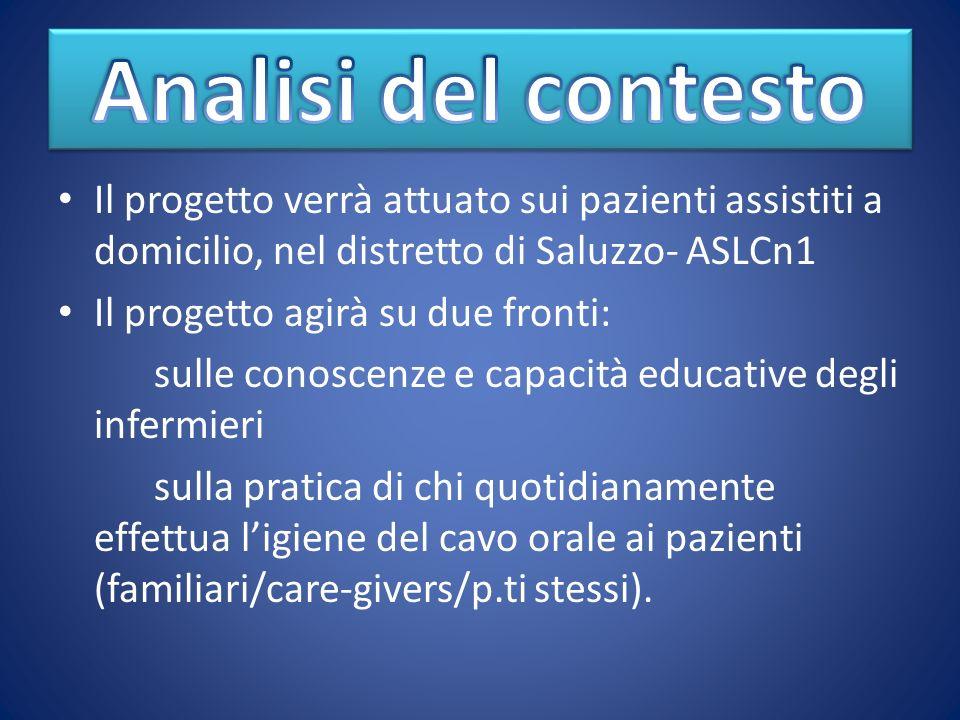 Analisi del contesto Il progetto verrà attuato sui pazienti assistiti a domicilio, nel distretto di Saluzzo- ASLCn1.