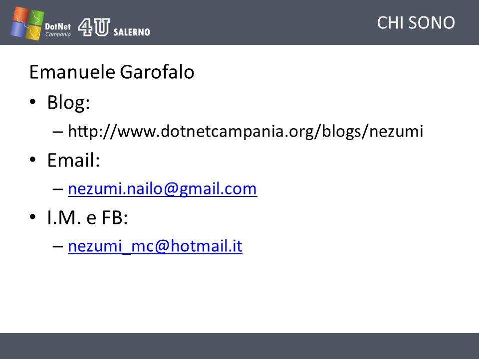 Emanuele Garofalo Blog: Email: I.M. e FB: CHI SONO