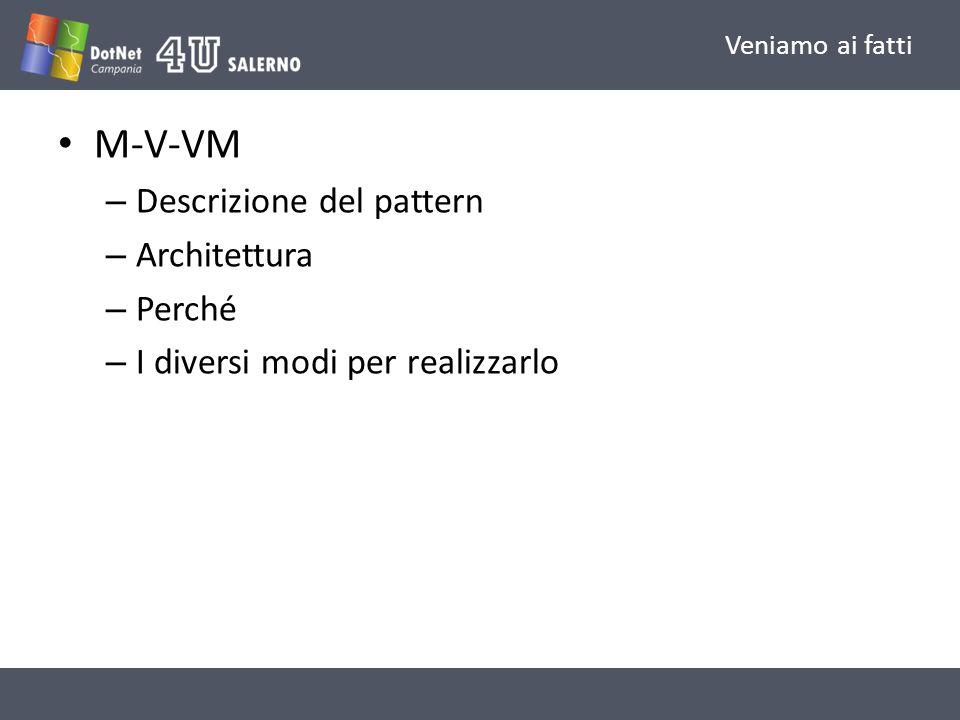 M-V-VM Descrizione del pattern Architettura Perché