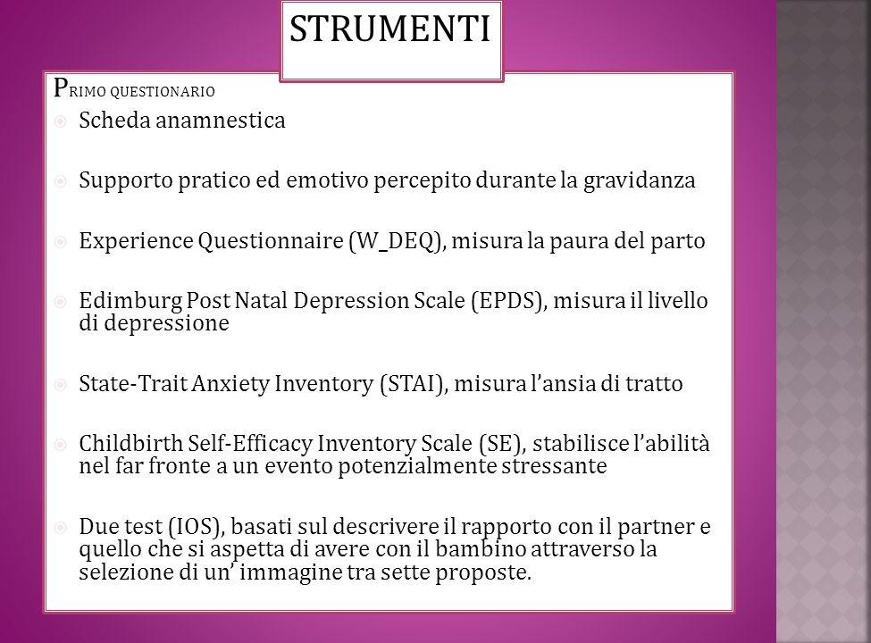 STRUMENTI PRIMO QUESTIONARIO Scheda anamnestica