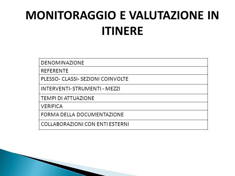 MONITORAGGIO E VALUTAZIONE IN ITINERE