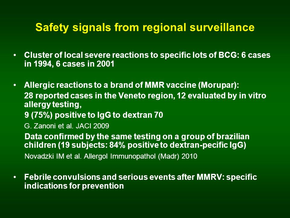 Safety signals from regional surveillance