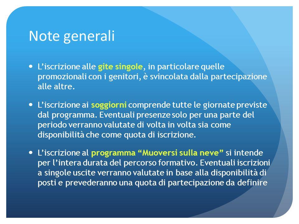 Note generaliL'iscrizione alle gite singole, in particolare quelle promozionali con i genitori, è svincolata dalla partecipazione alle altre.