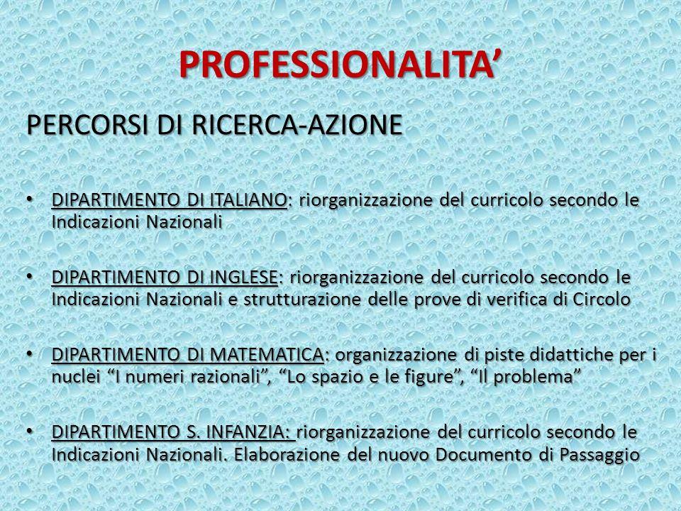 PROFESSIONALITA' PERCORSI DI RICERCA-AZIONE