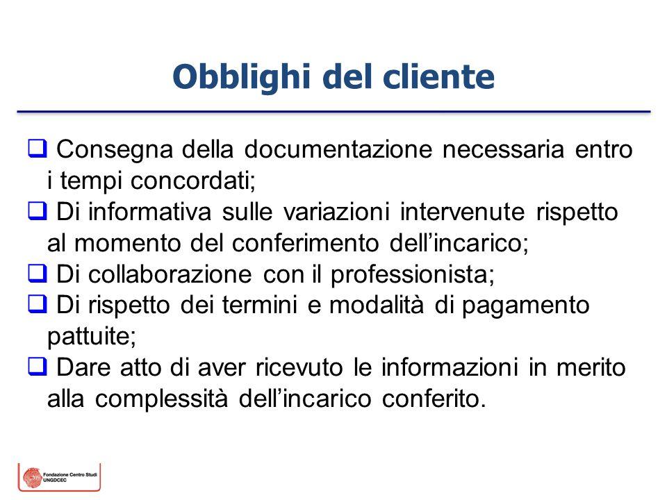 Obblighi del cliente Consegna della documentazione necessaria entro i tempi concordati;