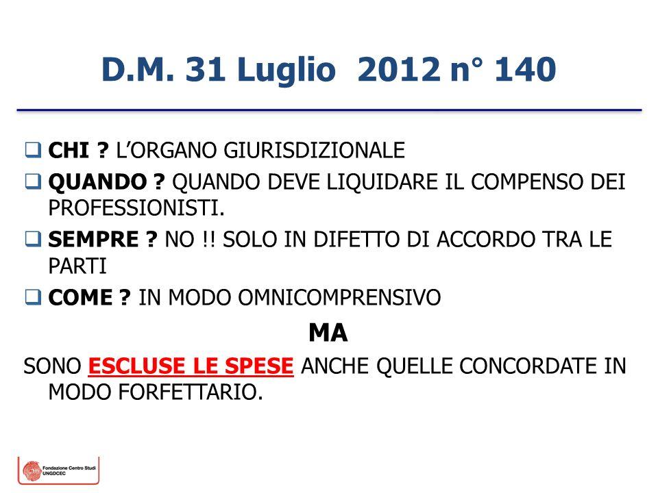 D.M. 31 Luglio 2012 n° 140 MA CHI L'ORGANO GIURISDIZIONALE
