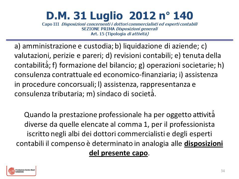 D.M. 31 Luglio 2012 n° 140 Capo III Disposizioni concernenti i dottori commercialisti ed esperti contabili SEZIONE PRIMA Disposizioni generali Art. 15 (Tipologia di attività)